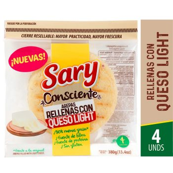 Arepa relle queso light sary 4 und*380gr
